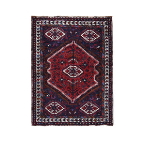 "4'x5'7"" Red New Persian Shiraz With Medallion Pure Wool Runner Hand Knotted Oriental Rug FWR295638"