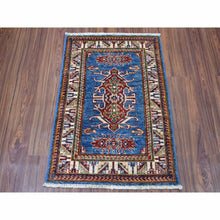 "Load image into Gallery viewer, 2'1""x3' Super Kazak Pure Wool Blue Geometric Design Hand-Knotted Oriental Rug FWR300288"