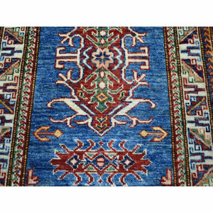 "2'1""x3' Super Kazak Pure Wool Blue Geometric Design Hand-Knotted Oriental Rug FWR300288"