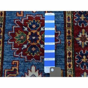 2'x3' Super Kazak Pure Wool Blue Geometric Design Hand-Knotted Oriental Rug FWR300474