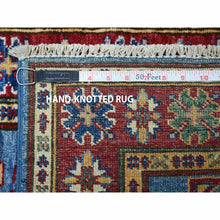 Load image into Gallery viewer, 2'x3' Super Kazak Pure Wool Blue Geometric Design Hand-Knotted Oriental Rug FWR300474
