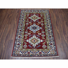 "Load image into Gallery viewer, 3'3""x4'8"" Blue Super Kazak Pure Wool Geometric Design Hand-Knotted Oriental Rug FWR300564"