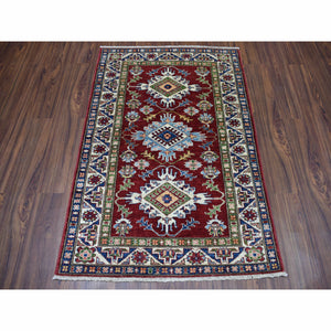 "3'3""x4'8"" Blue Super Kazak Pure Wool Geometric Design Hand-Knotted Oriental Rug FWR300564"