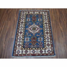 "Load image into Gallery viewer, 2'10""x3'10"" Blue Super Kazak Pure Wool Geometric Design Hand-Knotted Oriental Rug FWR300600"