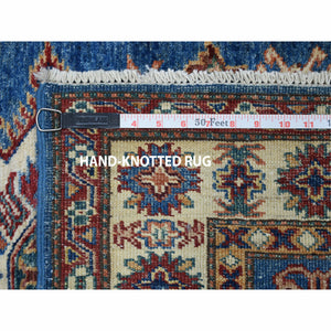 "2'10""x3'10"" Blue Super Kazak Pure Wool Geometric Design Hand-Knotted Oriental Rug FWR300600"