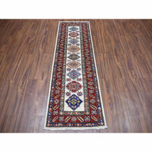 "Load image into Gallery viewer, 2'x6'3"" Ivory Super Kazak Pure Wool Geometric Design Hand-Knotted Oriental Runner Rug FWR301512"