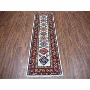 "2'x6'3"" Ivory Super Kazak Pure Wool Geometric Design Hand-Knotted Oriental Runner Rug FWR301512"