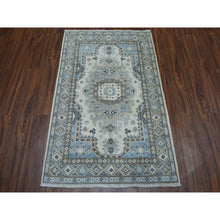 "Load image into Gallery viewer, 3'2""x4'8"" Ivory Geometric Design Vintage Look Kazak Pure Wool Hand-Knotted Oriental Rug FWR302226"