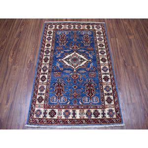 "3'3""x4'8"" Blue Super Kazak Geometric Design Pure Wool Hand-Knotted Oriental Rug FWR302526"