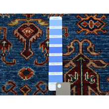 "Load image into Gallery viewer, 3'3""x4'8"" Blue Super Kazak Geometric Design Pure Wool Hand-Knotted Oriental Rug FWR302526"