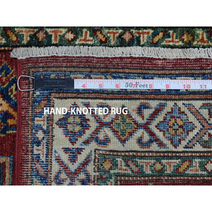"2'8""x20' Red Super Kazak Geometric Design XL Runner Pure Wool Hand-Knotted Oriental Rug FWR302724"