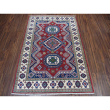 "Load image into Gallery viewer, 4'1""x5'9"" Red Kazak Geometric Design Pure Wool Hand-Knotted Oriental Rug FWR304656"