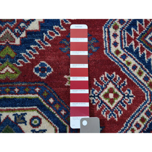 "4'1""x5'9"" Red Kazak Geometric Design Pure Wool Hand-Knotted Oriental Rug FWR304656"
