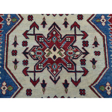 "Load image into Gallery viewer, 4'2""x6' Ivory Geometric Design Kazak Pure Wool Hand-Knotted Oriental Rug FWR305136"