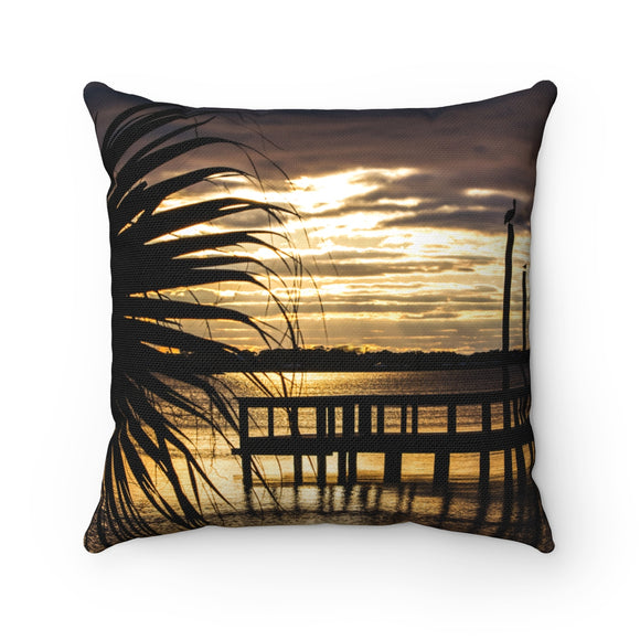 Polyester Square Pillow:  Palm Tree Sunset