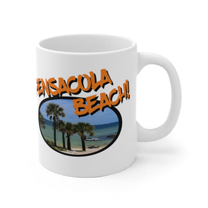 White Ceramic Mug:  Pensacola Beach Palm Trees