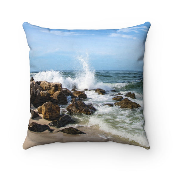 Polyester Square Pillow:  Rocky Beach