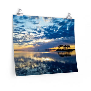 Premium Matte Poster Print: Island Sunset Clouds Reflection