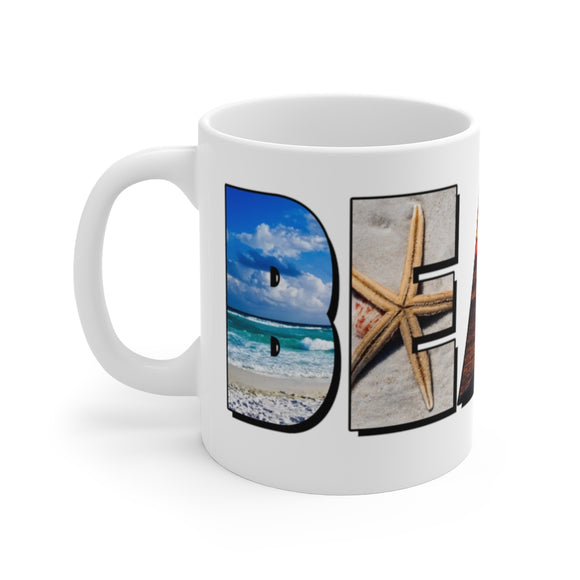 White Ceramic Mug:  BEACH Letters