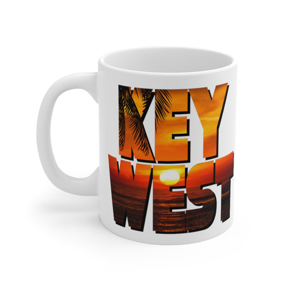 White Ceramic Mug:  Key West Sunset
