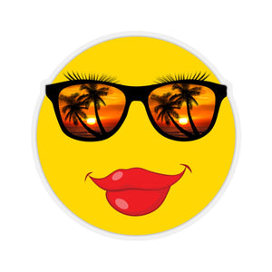 Stickers:  Lipstick Smiley Face Emoji with Sunset & Palm Tree Sunglasses