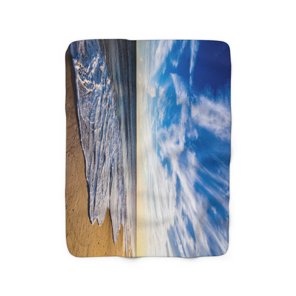 Sherpa Fleece Blanket: Golden Hour Beach Waves