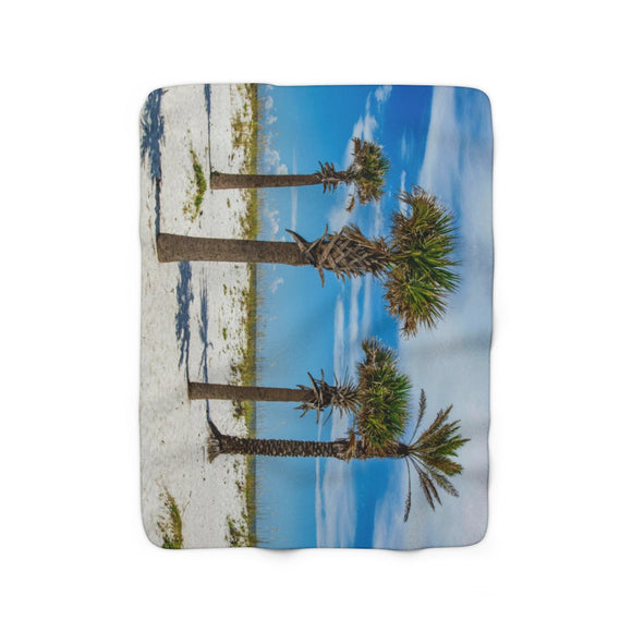 Sherpa Fleece Blanket:  Palm Trees & Ocean Breeze