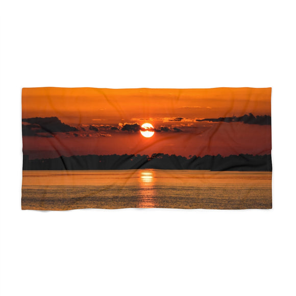 Beach Towel: Orange Sunset Reflection