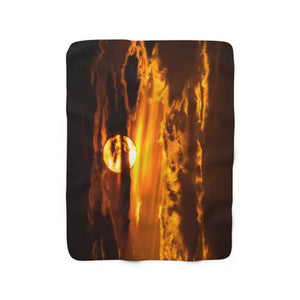 Sherpa Fleece Blanket: Sunset Through the Clouds