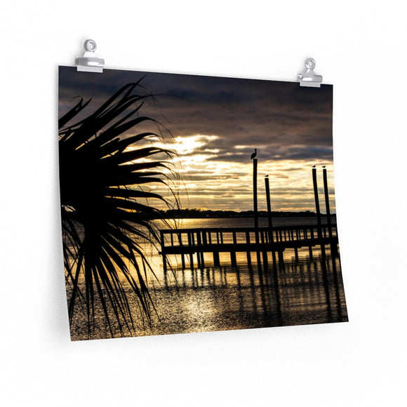Premium Matte Poster Print: Palm Tree Sunset