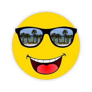 Sticker:  Smiley Face Emoji with Palm Tree Sunglasses