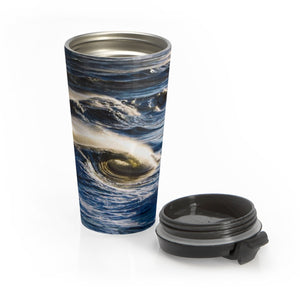 Stainless Steel Travel Mug: Ocean Waves