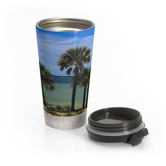 Palm Trees on the Beach:  Stainless Steel Travel Mug