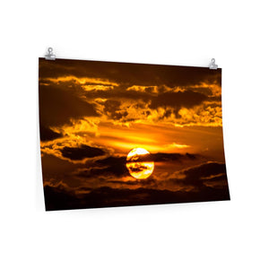 Premium Matte Poster Print: Sunset through the Clouds