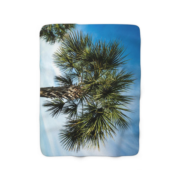 Sherpa Fleece Blanket: Palm Tree
