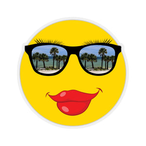 Stickers:  Lipstick Smiley Face Emoji with Palm Tree Sunglasses