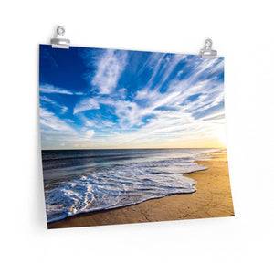 Premium Matte Poster Print: Golden Hour Beach Waves