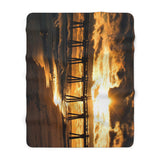 Sherpa Fleece Blanket:  Pensacola Beach Pier at Sunset
