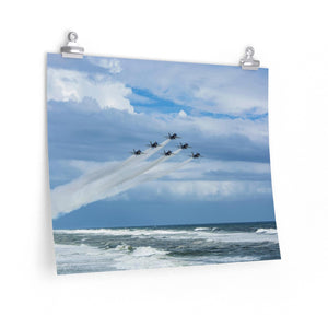 Premium Matte Poster: Blue Angels over Pensacola Beach, Florida