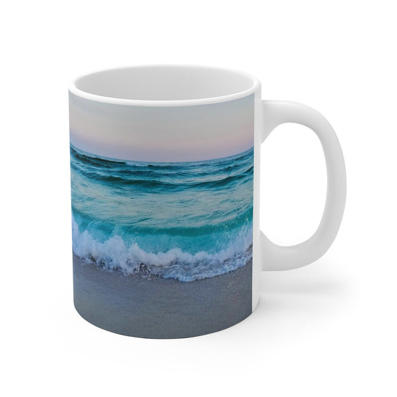 White Ceramic Mug:  Currently Pretending I'm at the Beach (Big Wave)