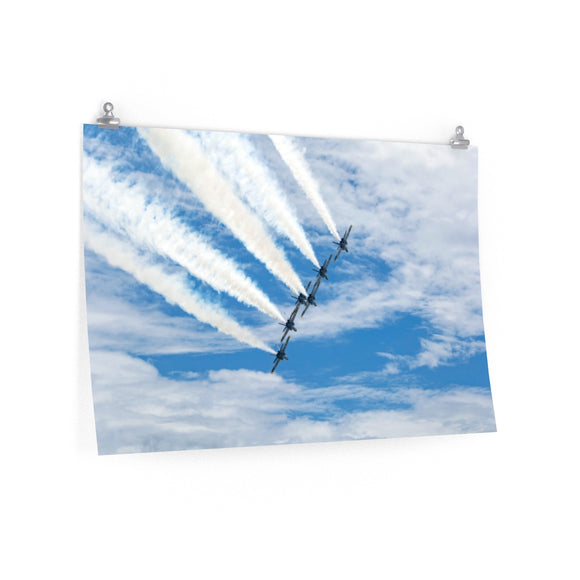 Poster Print:  Blue Angels in the Clouds