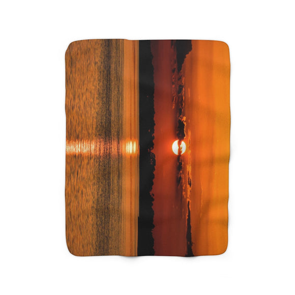 Sherpa Fleece Blanket: Orange Sunset Reflection