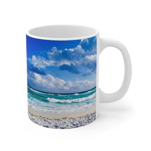 White Ceramic Mug:  Currently Pretending I'm at the Beach (Beach Waves)
