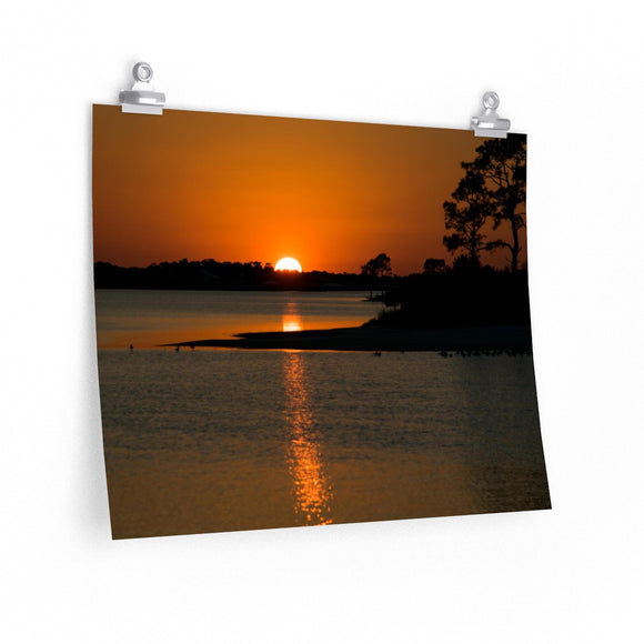 Premium Matte Poster Print: Island Sunset Reflection