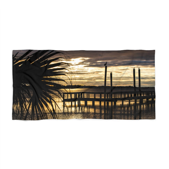 Beach Towel:  Palm Tree Sunset