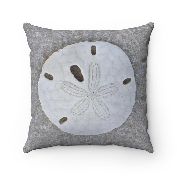 Polyester Square Pillow: Sand Dollar Seashell