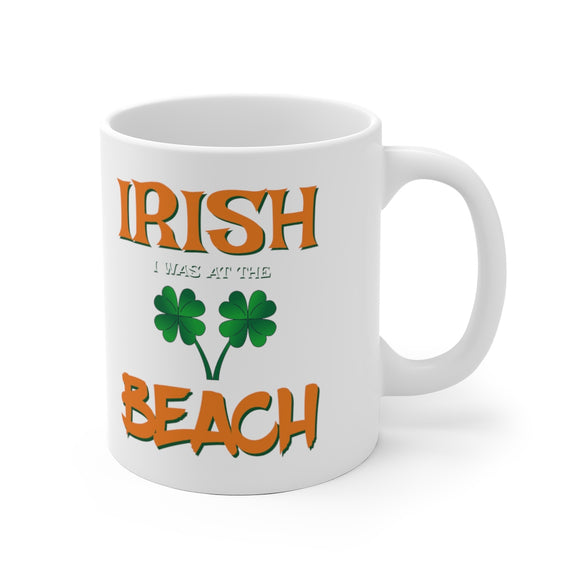 White Ceramic Mug:  Irish I as at the Beach
