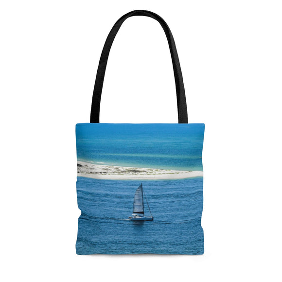 Tote Bag: Sailboat leaving the Bay