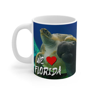 White Ceramic Mug:  Turtle - Manatee We Love Florida