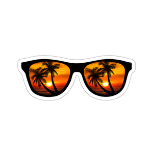 Sticker:  Sunglasses, Sunset, & Palm Tree Beach